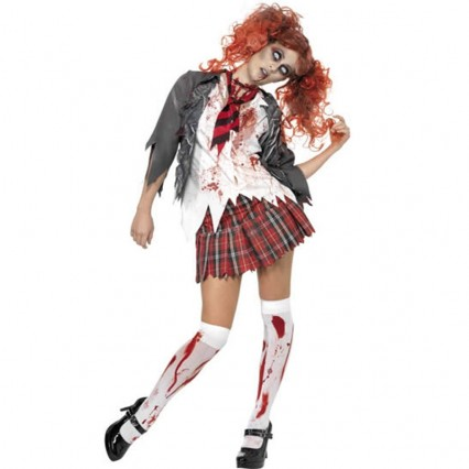 Women Halloween Costumes Zombie School Girl Costume ARZC011 Gray White Red Mixed with Size XS-XXXL Available