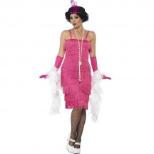 Women Costumes 1920s womens costume Long Flapper Costume Pink Fancy dress for Carnival Party