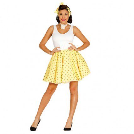Women Costumes 1950s Womens Costume 50s Set in Yellow Black Pink for Carnival Party