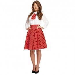 Women Costumes 1950s Womens Costume Polka Dot Skirt and Necktie Pink Red Blue for Carnival Party