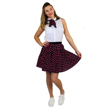 Women Costumes 1950s Womens Costume Short Polka Dot 1950s Skirt and Scarf Set for Carnival Party