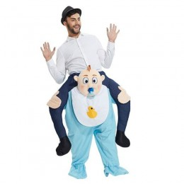 Ride On Costumes Wholesale White Blue Mens Ride On Baby Costume Carry Me Mascot Fancy Dress for Party