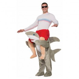 Ride On Costumes Wholesale White Gray Mens Ride on Shark Costumes Carry Me Mascot Fancy Dress for Party