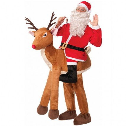 Ride On Costumes Wholesale Mens Santa Ride-A-Reindeer Costume Carry Me Mascot Fancy Dress for Party