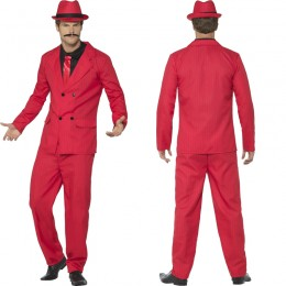 Occupation Costumes Wholesale Gangster Pimp Red Zoot Suit Gangster Mens Costume from China Manufacturer Directly