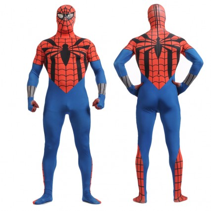 Superhero Comic Costumes Wholesale Blue Red with Black Spider Cosplay Superhero Lycra Spandex Zentai Suit Halloween from China Manufacturer Directly