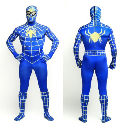 Superhero Comic Costumes Wholesale Halloween Blue Yellow Stripe Spiderman Zentai Suit Costumes from China Manufacturer Directly