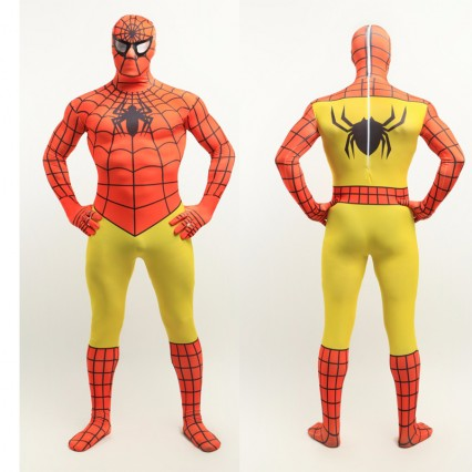 Superhero Comic Costumes Wholesale Halloween Orange Yellow Lycra Spandex Zentai Suit Inspired by Spiderman from China Manufacturer Directly