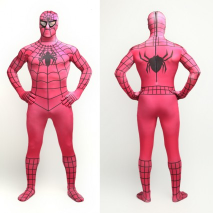 Superhero Comic Costumes Wholesale Halloween Rose Lycra Spandex Black Strip Zentai Suit Inspired by Spiderman Halloween from China Manufacturer Directly