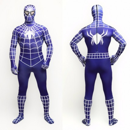 Superhero Comic Costumes Wholesale Halloween Spiderman Dark Blue with White Spider Lycra Bodysuit Halloween from China Manufacturer Directly