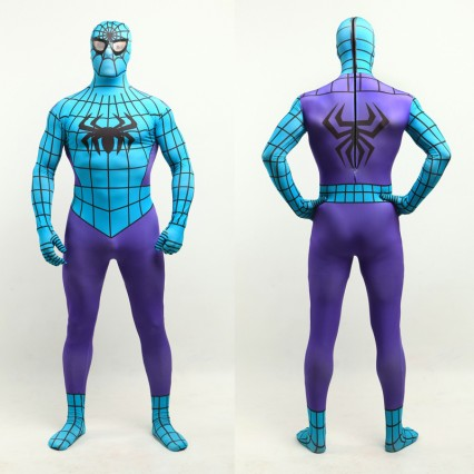 Superhero Comic Costumes Wholesale Halloween Spiderman Purple & Blue Lycra Bodysuit Halloween from China Manufacturer Directly