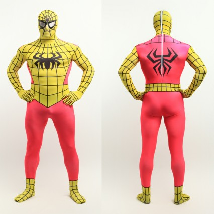 Superhero Comic Costumes Wholesale Halloween Yellow Spiderman Zentai Suit Full Body Lycra Spandex Super Hero Costume Halloween from China Manufacturer Directly