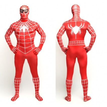 Superhero Comic Costumes Wholesale Red Lycra Spandex Unisex Spiderman Costume Suit Outfit Zentai with White Stripe from China Manufacturer Directly