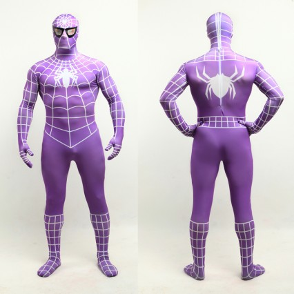 Superhero Comic Costumes Wholesale Halloween Purple Lycra Spandex White Stripe Zentai Suit Inspired by Spiderman Halloween from China Manufacturer Directly