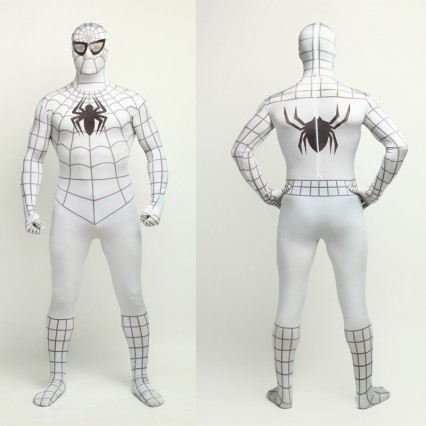 Superhero Comic Costumes Wholesale Halloween White Lycra Spandex Bodysuit Inspired by Spiderman Halloween from China Manufacturer Directly