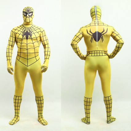 Superhero Comic Costumes Wholesale Halloween Yellow Lycra Spandex Black Stripes Zentai Suit Inspired by Spiderman Halloween from China Manufacturer Directly