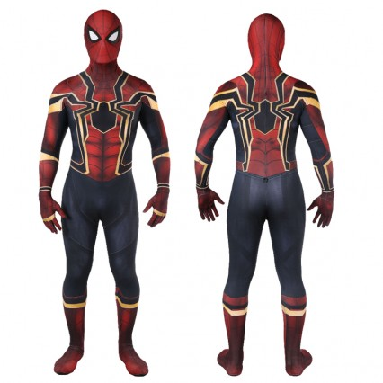 Superhero Comic Costumes Wholesale Avengers Infinity War Iron SpiderMan Costume 3D Original Movie Superhero Costume Fullbody Zentai Suit Hood Separated