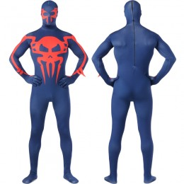Superhero Comic Costumes Wholesale Dark Blue Lycra Spandex with red spider Zentai Suit Inspired by Spiderman Halloween Costumes from China Manufacturer Directly