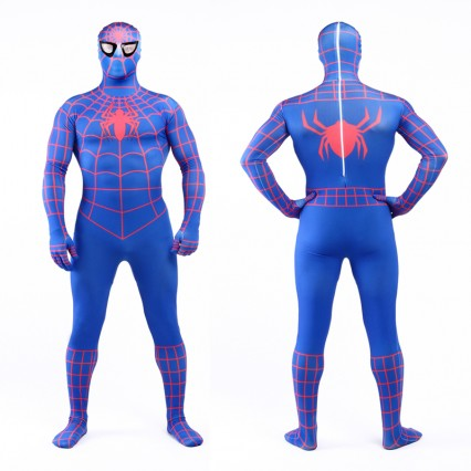 Superhero Comic Costumes Wholesale Halloween Blue Lycra Spandex Red Stripe Zentai Suit Inspired by Spiderman Halloween from China Manufacturer Directly