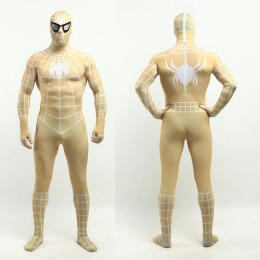 Superhero Comic Costumes Wholesale Halloween Golden Lycra Spandex White Stripe Zentai Suit Inspired by Spiderman Halloween from China Manufacturer Directly