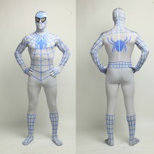 Superhero Comic Costumes Wholesale Halloween Lycra Spandex Blue White Stripes Zentai Suit Inspired by Spiderman Halloween from China Manufacturer Directly