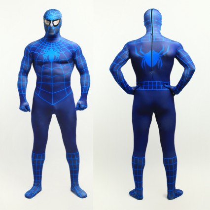Superhero Comic Costumes Wholesale Navy Blue Lycra Spandex Bodysuit Inspired by Spiderman Halloween from China Manufacturer Directly