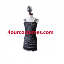 Women Costumes 1920 womens costume Black Flapper Fancy dress for Carnival Party