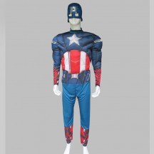 Superhero Comic Costumes Wholesale Captain American Deluxe Captain America Muscle Mens Costume from China Manufacturer Directly