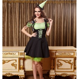Women Halloween Costumes Wholesale Green Witch Costume for Carnival Halloween Party