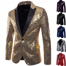 1960s Costumes Wholesale Gold Sequins Mens Jacket from China Manufacturer Directly
