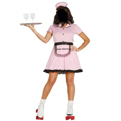 Women Costumes 1950s Womens Costume 50s Roller Waitress Costume for Carnival Party