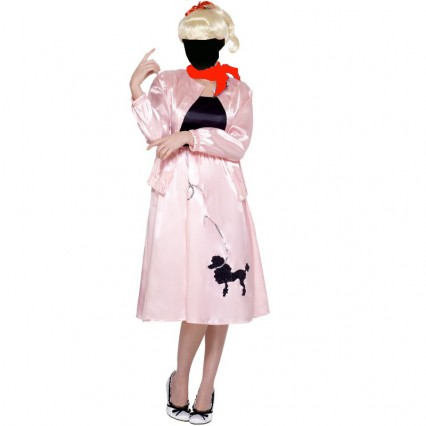 Women Costumes 1950s Womens Costume Grease Poodle Costume Pink for Carnival Party
