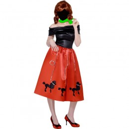 Women Costumes 1950s Womens Costume Grease Poodle Dress Red for Carnival Party