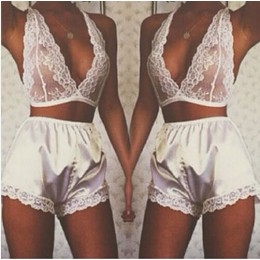 Ladies Sexy 2 Piece White Lace Bra Top & Satin Shorts Pyjama Set One Size AR2151048