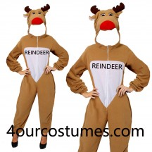 Adult Unisex Reindeer Christmas Costumes Xmas Rudolph Mens Ladies Fancy Dress