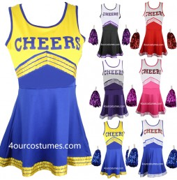 Cheerleader Fancy Dress Outfit Uniform High School Musical Costume With Pom Poms