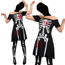 Ladies Skeleton Zombie Fancy Dress Halloween Girl Bones Costumes Dead Black