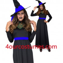 Ladies Wicked Witch Costume with Hat Adult Traditional Halloween Fancy Dress Outfit