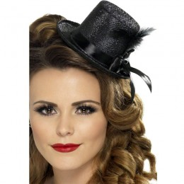 Party Accessories Wholesale Black Top Hat Ladies Mini Burlesque Fancy Dress Hat 1920S from China Manufacturer Directly