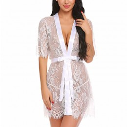 Charming See-through Floral Lace Self-tying Thin Nightgown Bathrobe with Sash N18927