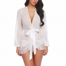 Sexy Sheer Mesh Lace-up Detail Lace Trim Self-tying Thin Nightgown Bathrobe with Sash N18925