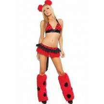 Halloween Sexy Lingerie Costumes Mascot Adult Fancy Dress Party Supply Carnival Sexy Deluxe Ladybug Costume