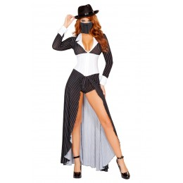 Halloween Sexy Lingerie Costumes Wholesale Mafia Mama Costume with Face Mask