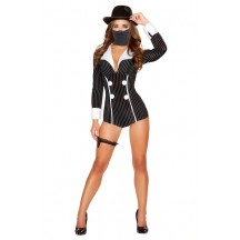 Halloween Sexy Lingerie Costumes Wholesale Mischievous Mobster Babe Costume with Face Mask